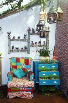 While this is a solarium, the idea of the drawers with the plants is really cute.