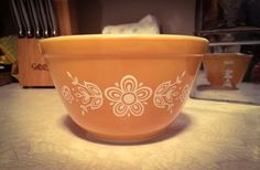 Vintage Pyrex Small Stacking/ Mixing Bowl 1.5 pint Butterfly Gold 1 Pattern by GinchiestGoods on Etsy