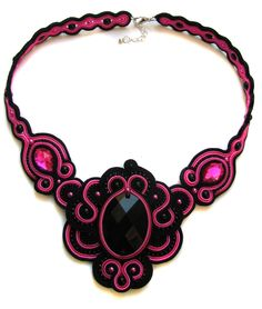 Necklace soutache black and pink by GosiaBizu on deviantART