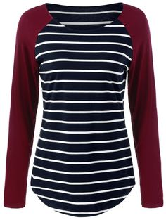 Raglan Sleeve Comfy Striped T-Shirt in Stripe | Sammydress.com