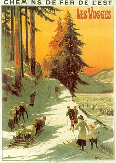 Vintage Railway travel Poster - Les Vosges - France - by Louis Tauzin - Ski Posters, Art Deco Posters, Poster Prints, Vintage Ski, Vintage Travel Posters, Tourism Poster, Retro Poster, Kunst Poster, Retro Illustration