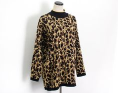 VTG 80's Metallic Glitter Leopard Print Knit Tunic Sweater (Medium) Punk Rock Print Long Sleeve Pull Over Long Sleeve High Neck