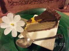 Maca White chocolate cheese cake with a Chocolate Mango topping