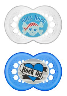 MAM Rock 'N Roll- 6+ mo. Pacifiers- Blue- Heart Draped in 'Rock On' Banner and 'Boys Rock' Skull & Crossbones #baby #fashion