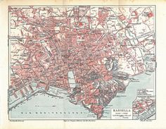 Marseille City Plan Vintage Map France 1923 to Frame by carambas