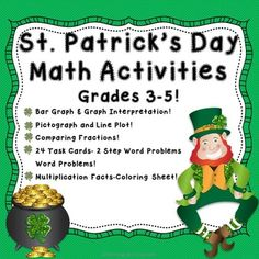 These St. Patrick's Day Math Activities are not only lots of fun, but are also Common Core aligned! Your students will practice multiplication, division, creating bar graphs and interpreting them, creating line plots, fractions, and 2 step word problems, all while celebrating St.