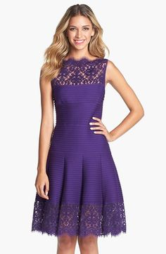 Free shipping and returns on Tadashi Shoji Matte A-Line Jersey Dress at Nordstrom.com. Lightly scalloped lace renders the sheer yoke and wide hem framing a flattering fit-and-flare dress with a drop-waist bodice and deeply pleated A-line skirt. Precise pintucks emphasize the curvy silhouette.