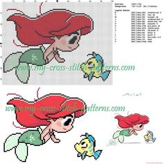 Ariel and Flanders cross stitch pattern - free cross stitch patterns simple unique alphabets baby - Cross Stitch Cross Stitching, Cross Stitch Embroidery, Embroidery Patterns, Hand Embroidery, Loom Patterns, Mermaid Cross Stitch, Cross Stitch Baby, Disney Stitch, Disney Cross Stitch Patterns