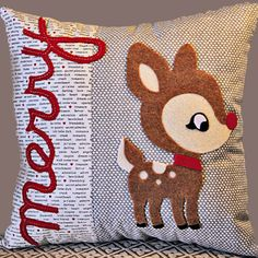 Rudolf Felt Applique Christmas Pillow by shopzinnialane on Etsy, $28.00
