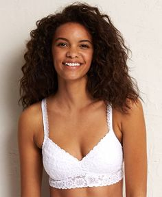 Aerie Lace Pushup Plunge Bralette, Women's, White