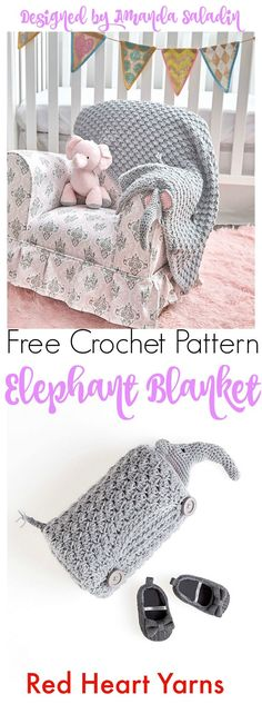 The Elephant Blanket is a free pattern I designed for Red Heart Yarns featuring Baby Hugs Light yarn. It doubles as a blanket and a huggable pal!