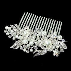 Amazon.com : Bridal Wedding Jewelry Crystal Pearl Sparkle Two Flowers Hair Comb : Decorative Hair Combs : Beauty