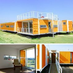 The shipping containers are chosen because they inherently present all these characteristics, because they have a strong structure, already defined. Shipping Container Office, Shipping Containers, Building A Container Home, Container House Design, Container Architecture, Interior Architecture, Shipping Crate Homes, Small Modern Home, Concept Home