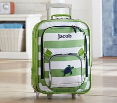 "Fairfax Green Stripe Small Luggage #PotteryBarnKids 17""h x13""w x7.5""d $7 for monogram,$72 =free shipping"
