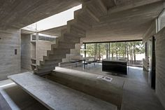 House is a concrete holiday retreat designed by Luciano Kruk in Costa Esmeralda, Buenos Aires, Argentina. Concrete House in Argentina Concrete Architecture, Contemporary Architecture, Architecture Design, Beton Design, Concrete Houses, Exposed Concrete, Rooftop Pool, Bauhaus, Beautiful Homes