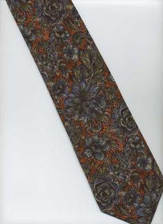 Handmade VALENTINO, Cravatte Tie ~ Brown, Orange, Blue, Green ~ Floral Silk Tie
