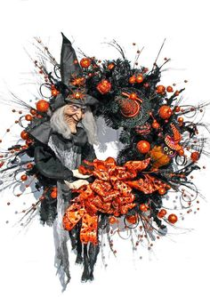 Hey, I found this really awesome Etsy listing at https://www.etsy.com/listing/202481020/witch-wreath-halloween-wreath-black