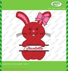 Easter Cute Bunny Split Frames SVG DXF PNG eps by Alligcutter