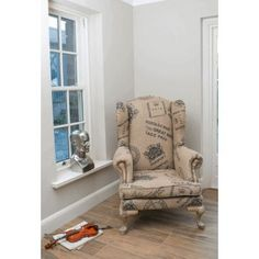 Hessian wingback armchair Upholstered in Old vintage antique postmaster stamps, chairs made in hessian material that will transform your living room Retro Armchair, Wingback Armchair, Wooden Armchair, Retro Sofa, Vintage Sofa, Vintage Furniture, Armchairs, Types Of Furniture, Furniture Styles