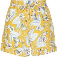 New Look Yellow Floral Print Frill Hem Shorts (€8,36) ❤ liked on Polyvore featuring shorts, floral shorts, ruffle hem shorts, floral printed shorts, yellow shorts and floral print shorts