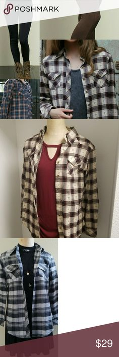 Flannel Tops Perfect For Layering Or Even Worn Own Quality Flannels  Midweight Material Rust Color Top Is More Of A Non Flannel Material Like A Woven Top With Gold Tone Hardware Generous Fit I Am A Size 4- 6 Larger Bust And Wear A Medium Please Comment For Size Availablity Leggings Available In Separate Listing Angie Tops