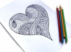 Printable Coloring Page, Zentangle Inspired Valentines Printable- Page Zendoodle Heart via Etsy Doodles Zentangles, Zentangle Patterns, Zen Doodle, Doodle Art, Heart Doodle, Sketch Note, Tangle Art, Doodle Inspiration, Zen Art