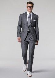 Grey, shiny suit with white shirt, skinny black tie and black ...
