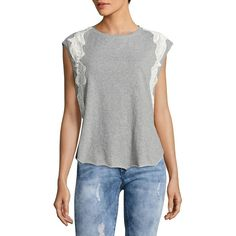 Free People Women's Bonsai Lace Detail Tee ($17) ❤ liked on Polyvore featuring tops, t-shirts, grey, cotton t shirts, grey t shirt, cap sleeve t shirt, curved hem t shirt and cotton crew neck t shirts
