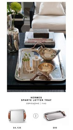 Hermes Sparte Letter Tray for $4,125 vs @blisshomedesign  Equestrian Rectangle Tray for $93   @copycatchic designer looks for less home decor on a budget