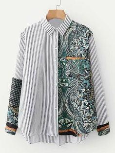 Batik Fashion, Hijab Fashion, Fashion Outfits, Womens Fashion, Shirt Refashion, Patchwork Dress, Mode Style, Blouse Designs, Paisley