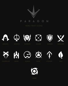 User Interface work for Paragon Game Ui Design, Badge Design, Icon Design, Logo Design, Game Gui, Game Icon, I Icon, Yin Yang, Brand Icon