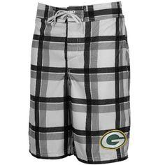 Green Bay Packers Plaid Fashion Boardshort - White Black cf7252da2