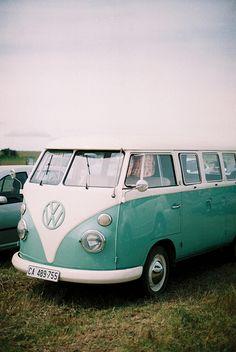 Teal Volkswagen Bus