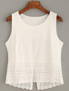 Shop White Crochet Trim Tank Top online. SheIn offers White Crochet Trim Tank Top & more to fit your fashionable needs.