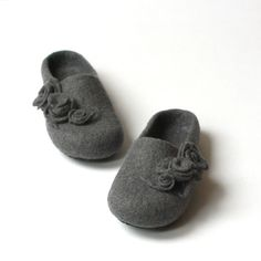felted wool shoes | Women house shoes grey felted wool slippers with by AgnesFelt, $65.00