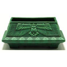 "Roseville Pottery matt green window box, missing liner, winged Egyptian beetle, unmarked, 8.5""w x 4""h"