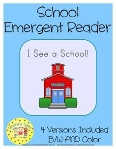 """This adorable, thematic mini book will delight and engage your little tykes!  Each ten-page reader has a cover with the title and a line for student's name; 8 pages of easy, repetitive text focusing on the sight words, and a final page listing the focus sight words and lines for """"I read this book to:"""" signatures.  """"I See a School!"""" Emergent Reader focuses on the sight words a, I, and see."""