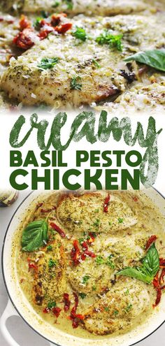 Creamy Basil Pesto Chicken The perfect chicken flavored with a basil pesto sauce mixed in with sun-dried tomato orzo pasta, and made in one skillet also makes for the perfect dinner. Basil Pesto Pasta, Salsa Pesto, Basil Pesto Recipes, Chicken Pesto Recipes, Basil Pesto Chicken Pasta, Pasta Sauce Pesto, Chicken With Basil, Recipes With Pesto Sauce, Chicken With Pesto Sauce