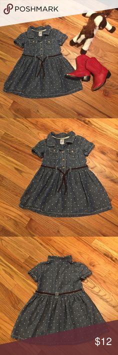 Carter's Chambray Polka Dot Dress - 24 Months 24 month Carter's chambray dress with polka dots and braided belt. 100% cotton. Smoke free home. I did not see any flaws. I do my best to find and disclose any damage, but please note this is a preloved item. 💕 Carter's Dresses Casual