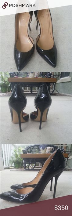 Gucci black patent leather pumps Black patent leather; 4,5-inch spike heal; never worn! Gucci Shoes Heels