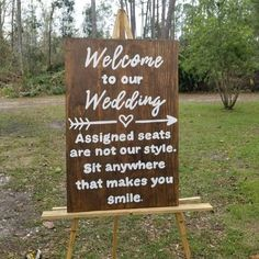 Wood Wedding Welcome Sign Ceremony Sign Seating Plan Sign Rustic Wedding Decor Reception Sign Sit Anywhere Pick a Seat not a side by ThePeculiarPelican Reception Signs, Wedding Ceremony Decorations, Church Decorations, Church Ceremony Decor, Hippie Wedding Decorations, Outdoor Decorations, Wedding Centerpieces, Reception Layout, Decor Wedding