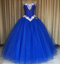 Royal Blue Prom Formal Gowns Strapless Prom Dress Applique Tulle Ball Gown Quinceanera Dresses For Sweet Prom Party Dress Royal Blue Prom Dresses, Blue Ball Gowns, Quince Dresses, Tulle Ball Gown, Ball Gowns Prom, Tulle Prom Dress, Ball Gown Dresses, Prom Party Dresses, Homecoming Dresses