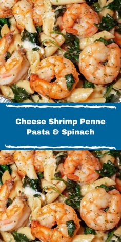 Shrimp And Spinach Recipes, Shrimp And Sausage Pasta, Shrimp Pasta Dishes, Penne Pasta Recipes, Shrimp Recipes For Dinner, Shrimp Recipes Easy, Healthy Pasta Recipes, Seafood Dinner, Seafood Recipes