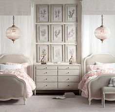 linen upholstered beds. feminine accents. #rhbabyandchild