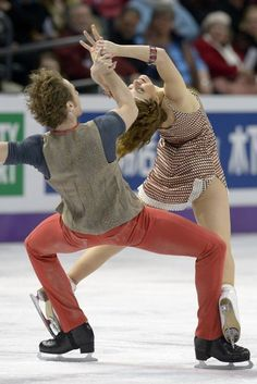 Nathalie Pechalat and Fabian Bourzat of France compete during the Ice Dance Free Dance event at the 2013 World Figure Skating Championships March 16, 2013 in London, Ontario.