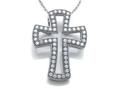 Zoe R(tm) Sterling Silver Micro Pave Hand Set Cubic Zirconia (CZ) Small Cross Pendant Zoe R. $23.99. Free Chain in a matching metal will be included. Free Jewerly Box. Guaranteed Authentic from the Zoe R designer line. Save 70%!