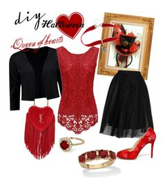 """""""Queen of hearts"""" by tatianaous ❤ liked on Polyvore featuring Yves Saint Laurent, Boohoo, WithChic, Topshop, Charlotte Olympia, Palm Beach Jewelry, Warner Bros., halloweencostume and DIYHalloween"""