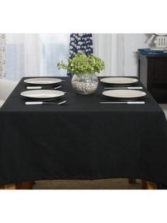 Solid Color Black Cotton Table Cloth