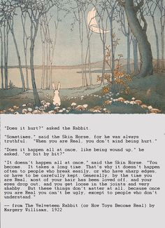 """The Velveteen Rabbit"" by Margery Williams....because I know ya like rabbits and I know ya like cheese."