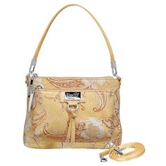 Be Mine (Yellow Paisley) || Dimensions: 8″ L x 1.5″ W x 6″ H - Strap Length: 6.5″ – 25″ - Opening: 4″ - Trim Colors: Charcoal, Yellow - SRP: $59.00 - Available In: Blue Paisley, Yellow Paisley